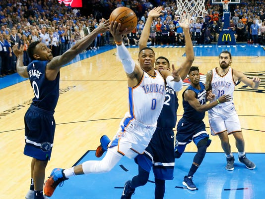 Russell Westbrook, Jeff Teague, Karl-Anthony Towns
