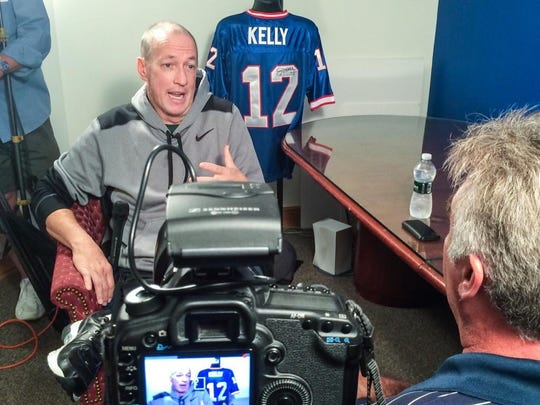 Jim Kelly talks to Sal Maiorana in an interview Sept. 10 in Williamsville.