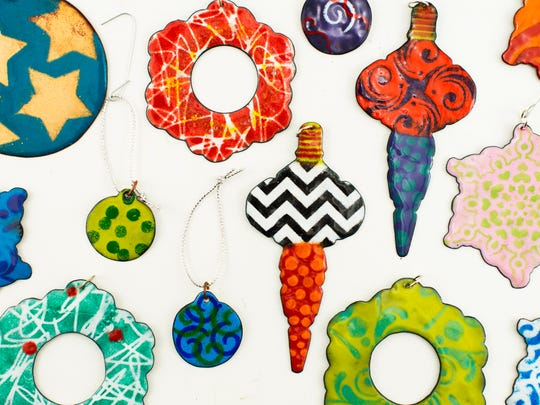 Enamel ornaments created by students.