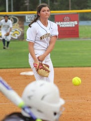 Alicia Veltri pitches to an opponent during a Northeast