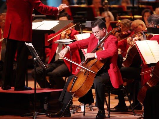 Ilya Finkelshteyn, principal cellist for the Cincinnati Symphony Orchestra, playing in a recent Cincinnati Pops concert.