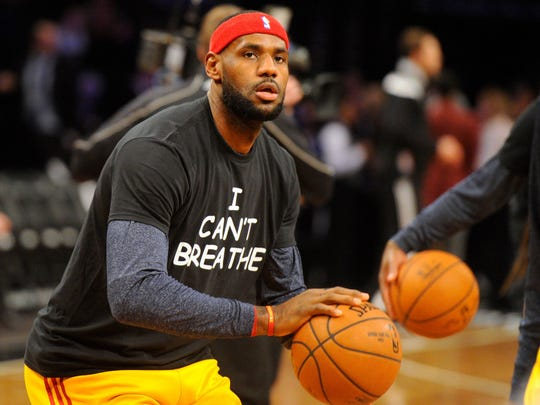 LeBron James wears a T-shirt that reads ''I Can't Breathe'' before a game in 2014.