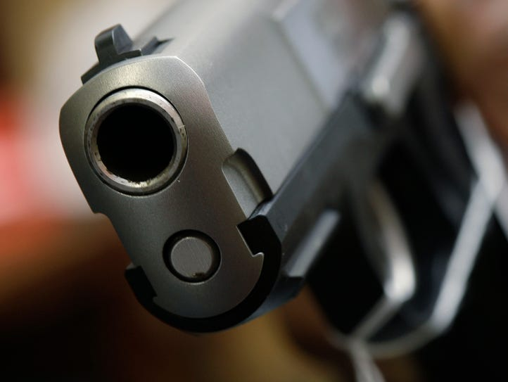 A handgun is displayed in this 2008 photo.