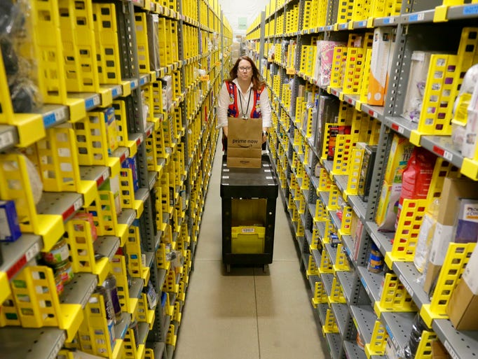 Dena McQueen, an Amazon Prime Now associate, maneuvers