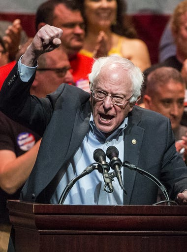 Sen. Bernie Sanders speaks during a rally on Sunday, March. 11, 2018, at the Orpheum Theatre in Phoenix.