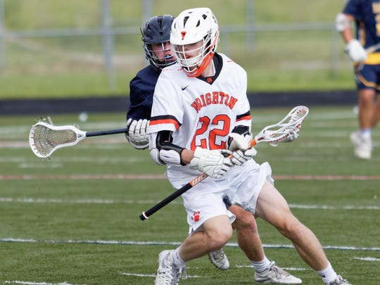 Ivan Progar scored two goals for Brighton in a 19-7 loss to Hartland in a state Division 1 lacrosse quarterfinal on Friday, June 1, 2018.
