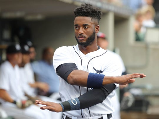 Tigers second baseman Niko Goodrum in the dugout during the first inning of the 7-5 loss to the Rangers on Thursday, July 5, 2018, at Comerica Park.