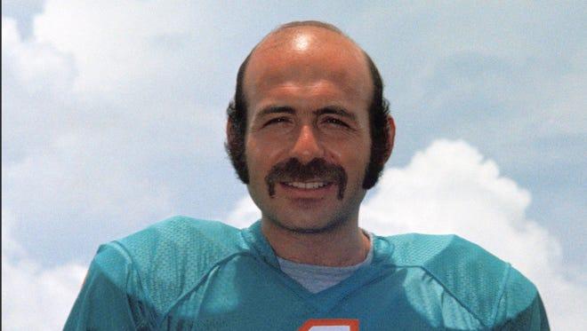 FILE - In this 1972 file photo, Miami Dolphins kicker Garo Yepremian poses for a photo in Miami.