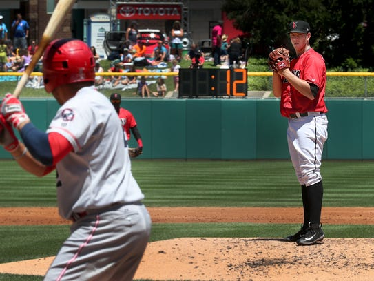 Indianapolis Indians pitcher Nick Kingman (50) pitches