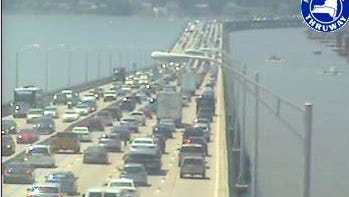 Traffic on the Tappan Zee Bridge looking toward Rockland at 1:45 p.m. Friday, July 10, 2015, as seen in a state Thruway Authority traffic camera image.