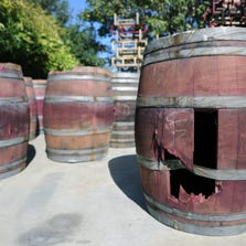 A damaged barrel sits outside at Bouchaine Vineyards in downtown Napa, California after an earthquake struck the area. California's governor Jerry Brown declared a state of emergency Sunday following a strong 6.0-magnitude earthquake that seriously injured three people including a child and ignited fires in the scenic Napa valley wine region. The US Geological Service said that the quake was the most powerful to hit the San Francisco Bay area since the 1989 6.9-magnitude Loma Prieta earthquake.