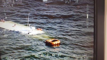 A boat sank in the waters off Bloodsworth Island on Wednesday, June 1, leading to the rescue of the 23 people aboard. The mostly submerged boat is seen here in a photo posted to Maryland Natural Resources Police's Twitter page.