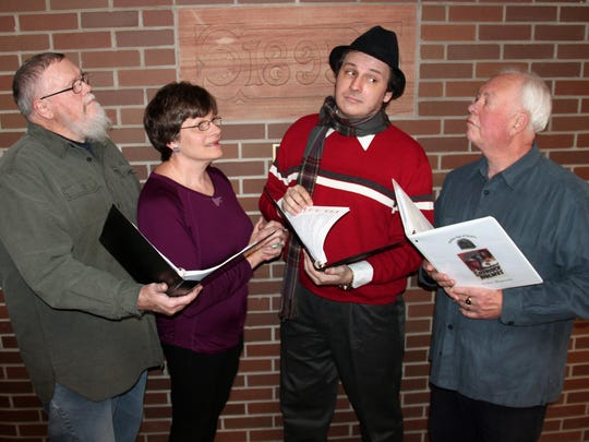 "From left, Alan Turner (King of Bohemia), Jenny Monroe (Mrs. Hudson), David A. Scott Jr. (Sherlock Holmes) and Bill Christoffels (Dr. Watson) star in ""A Scandal in Bohemia,"" part of the Elmira Little Theatre show ""Mystery, Comedy and Romance in the Golden Age of Radio."""