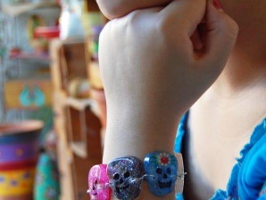 Day of the Dead resin skull bracelet