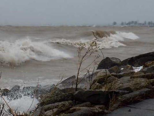 Waves whipped up along Lake Michigan