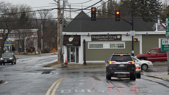 Intersection of routes 85 and 135 in Hopkinton is not in alignment, something that town officials aim to fix through the Main Street corridor project.
