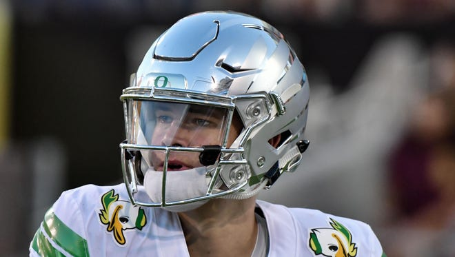 Sep 23, 2017; Tempe, AZ, USA; Oregon Ducks quarterback Justin Herbert (10) warms up prior to the game against the Arizona State Sun Devils at Sun Devil Stadium. Mandatory Credit: Matt Kartozian-USA TODAY Sports