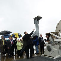 U.S. Sen. Barbara Mikulski arrives for a tour of the Mid-Atlantic Regional Spaceport's pad 0A on Tuesday, May 3, 2016. Repairs to the pad were recently completed to prepare for Orbital ATK's return to commercial spaceflight at NASA Wallops Flight Facility.
