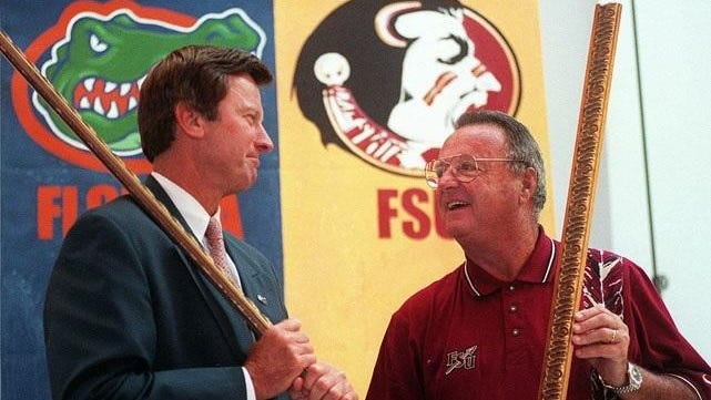 FSU coach Bobby Bowden, right, and former Florida coach Steve Spurrier had a good-natured rivalry.