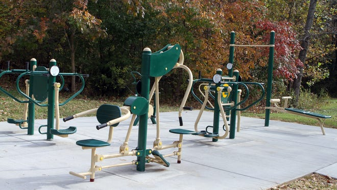 The new outdoor gym at Clarksville Greenway's Mary's Oak Trail Head features equipment that will allow fitness seekers a chance to do core and upper body training in addition to their walking, running and cycling.