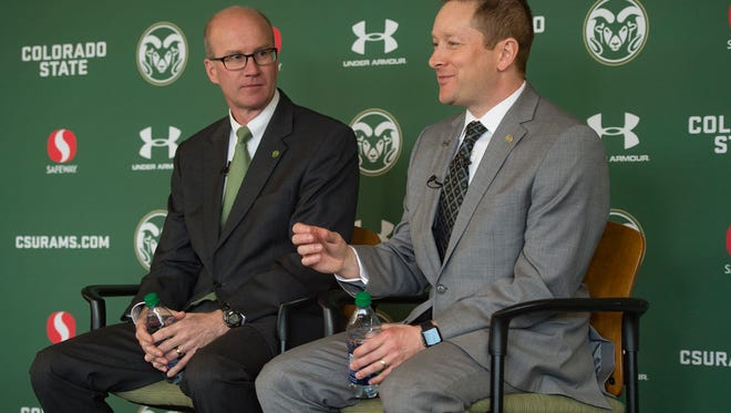 CSU men's basketball coach Niko Medved answers questions with Athletic Director Joe Parker during a press conference announcing his new position with the Rams on Friday, March 23, 2018.