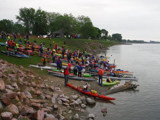 More than 130 racers prepared for the start of the 2015 SD Kayak Challenge in Yankton, S.D. Oregon native Casle Portner took first place in the women's adventure division of the race.
