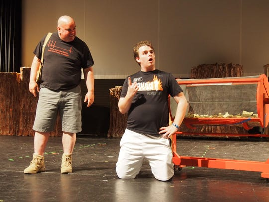 Father and son Jon and Andy Mueller play leads Shrek and Lord Farquaad in the upcoming performance of Shrek: The Musical by the Fond du Lac Community Theatre.