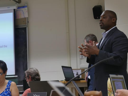 Yaw Obeng, superintendent of Burlington schools, speaks at Tuesday night's School Board meeting.