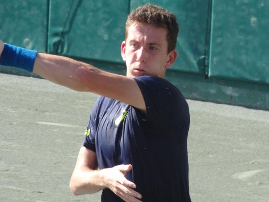 Corentin Denolly, 8 seed, in the quarterfinal round at the Men's Pro Tennis Classic at Kiwi Club, Friday.