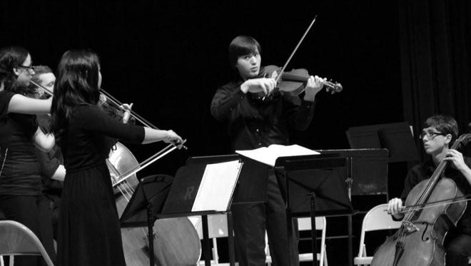 Members of the Vivace senior orchestra at the Stringendo Orchestra School of the Hudson Valley include Sophia Bellino and Jiyun Yoon on violin, Evan Bish on bass, Alex McLaughlin on viola and Aaron Stier on cello. The orchestra was recently named grand champion of the String Youth Orchestra competition sponsored by the American String Teachers Association.