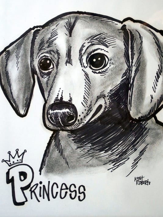 """A caricature of Princess is typical of the pet caricature works of Kent Roberts, who will participate in """"Fido's First Friday,"""" from 5 to 8 p.m. Sept. 4 in downtown Chambersburg."""