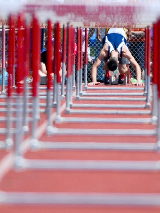 Dallastown's Owen Ritter competes in the boys' Class AAA 110-meter hurdles during preliminary rounds at Friday's PIAA State Track and Field Championships at Shippensburg University.