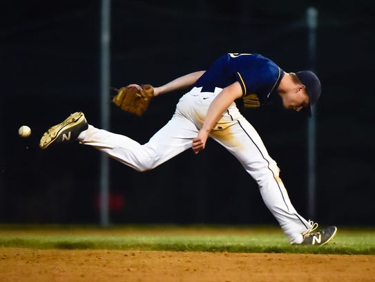 Greencastle's Myles Gayman goes to catch the ball and