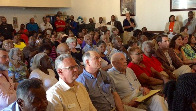 This June 29, 2016 photo shows a packed meeting room at St. Paul AME Zion Church in Salisbury where more than 100 stakeholders gathered to hear about a financial shortfall that threatens to close the Richard Hazel Youth Center operated by the Salvation Army. The room filled to standing room only, and the meeting was moved to the church sanctuary.