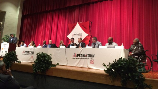Nashville city officials and community leaders discuss youth violence Monday at Pearl-Cohn High School.