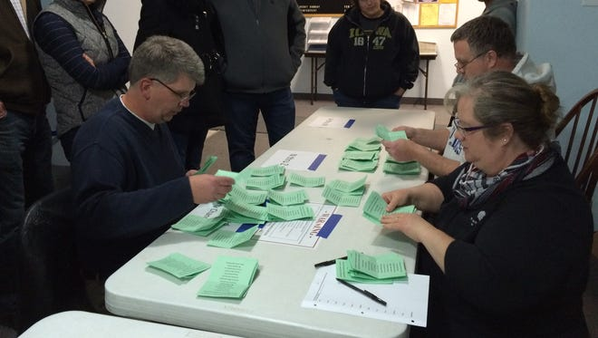 Coralville City Administrator Kelly Hayworth, left, and volunteers John and Kim Williams count ballots at a Republican caucus event at Tabernacle Baptist Church in Coralville on Monday, Feb. 1, 2016.