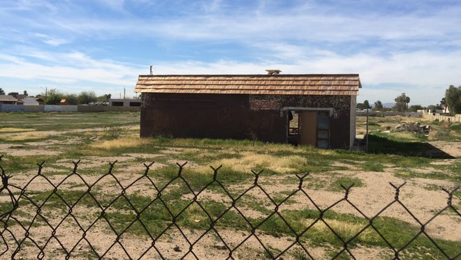 West Valley eye sores: A crumbling abandoned building sits at 16224 N. 67th Ave. in Glendale, surrounded by dirt and weeds. The property is among several West Valley eyesores identified by Arizona Republic readers.