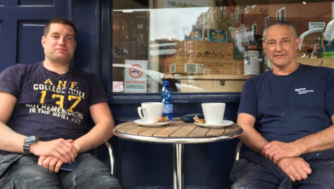 Kevin Campbell, 36, left, and his father, Mick, 63, said they would vote to leave the EU.