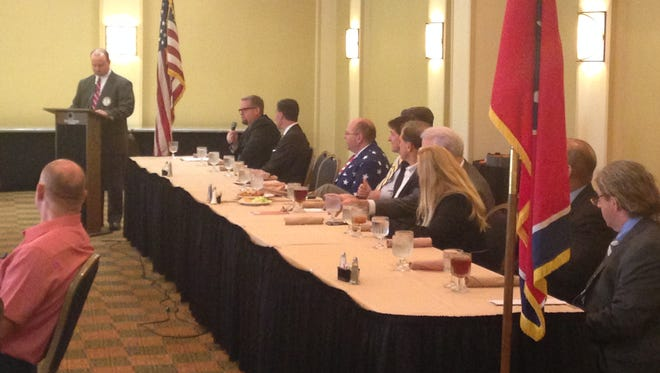 Candidates for the 8th Congressional District met at the DoubleTree Hotel to speak to voters Tuesday.