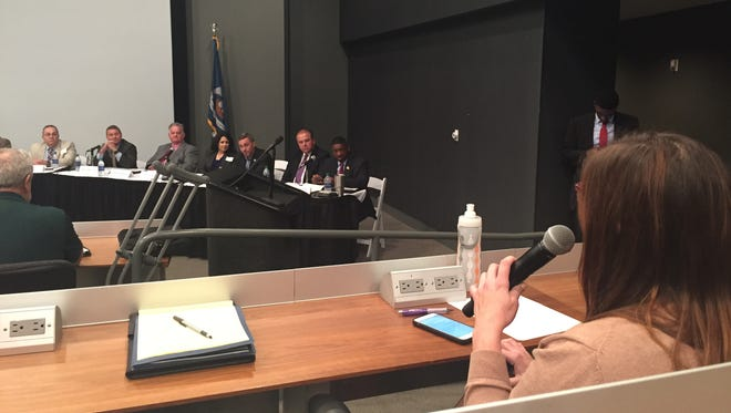 Anne Falgout, executive director of the Vermilion Economic Development Alliance, addresses the Governor's Task Force on Transportation Infrastructure in Lafayette Sept. 28, 2016.