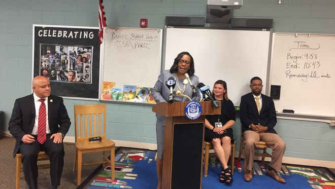 Katrina McCombs, speaking at the relaunch of Camden's gifted and talented program, has been named the interim superintendent for the Camden School District.