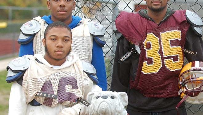 Qaadir Campbell (bottom left), Greg Brackett and Acosta Kittles were sophomore starters on Glassboro's 2013 title team.