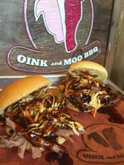 Pulled pork sliders are a favorite from Oink and Moo BBQ.