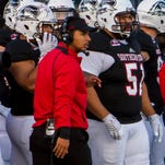 Coach Warren walks down the sideline during the Southern Utah vs Sacramento State game, Saturday, Oct. 17, 2015.