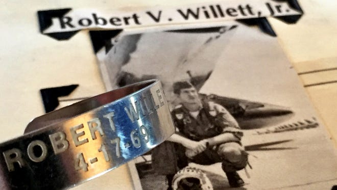 Robert Willett Jr.'s name and the day he went missing, April 17, 1969. The major was shot down in his F-100 fighter jet over Laos.