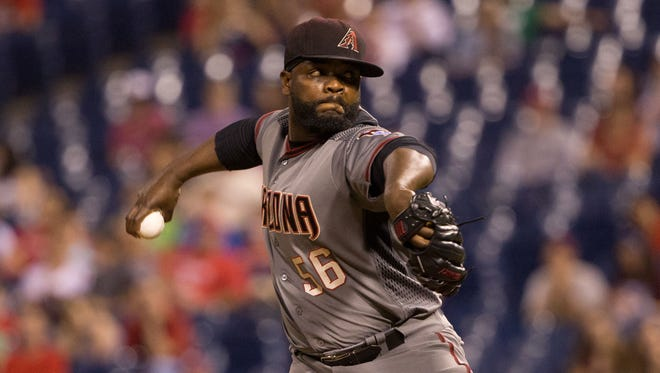Arizona Diamondbacks relief pitcher Fernando Rodney (56)  had a disastrous outing against the Dodgers.