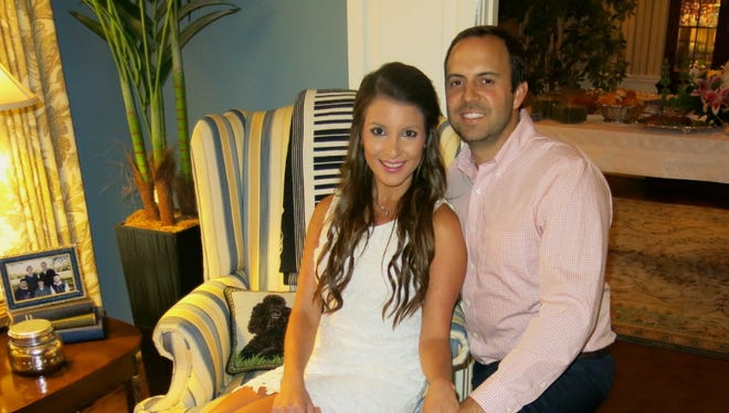 Alexa Calligas and fiance Lance Gooden at their engagement celebration at the home of Robert and  Debbie Grand.