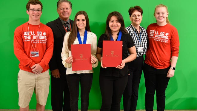 (From left) Jared DeWinne, co-president, National Honor Society, Vineland High School; Thomas McCann, school principal; Emily O'Neill, senior award recipient; Marilyn Miguel, junior award recipient; Carole Dallago, NHS advisor; and Savannah Brown, NHS co-president, are pictured at an award ceremony on April 25.
