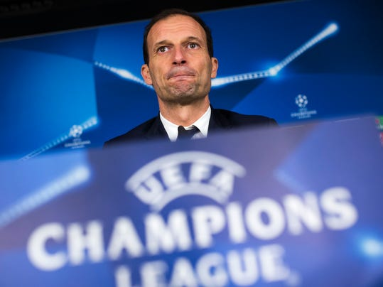 Juventus' head coach Massimiliano Allegri arrives to a news conference at the Santiago Bernabeu stadium in Madrid, Tuesday, April 10, 2018. Juventus will play a Champions League quarter final second leg soccer match with Real Madrid on Wednesday 11. (AP Photo/Francisco Seco)