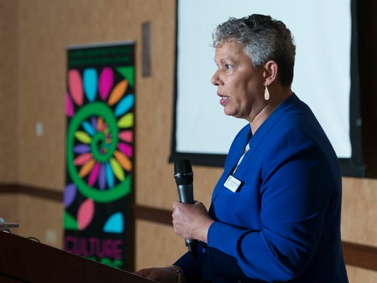 """Sandy Shaughnessy, director of the Florida Division of Cultural Affairs and ACE, speaks during the """"State of the Arts"""" luncheon hosted by Art, Culture, and Entertainment, Inc. (ACE) at the Lewis Bear Company in Pensacola on Tuesday, March 20, 2018."""